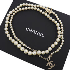 CHANEL Cc Logo Imitation Perle Halskette B14A Italien Authentisch #ZZ552 I