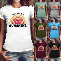 Women Girls Fashion Sunshine Letter Print Shirt Short Sleeve T Shirt Blouse Top