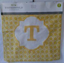 "Threshold Monogram Throw Pillow Cover Yellow Letter T 18 x 18"" Cotton"