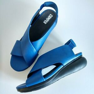 'CAMPER' US 9.5/40 Comfortable Soft Blue Leather Wedge Balloon Slingback Sandals