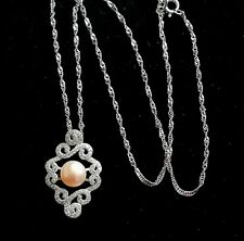 STERLING SILVER PINK PEARL & WHITE TOPAZ  SWIRL PENDANT AND CHAIN - BEAUTIFUL***