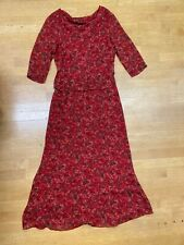 Cynthia Howie Red silk Maxi dress long sleeve size 6