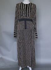 *Max Mara Long Black and Ivory Festive Dress Zig Zag  Size 12 MSRP $1,350 ITALY