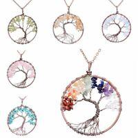 crystal arbre de vie collier la chaîne d'alliés pendentif de pierre naturelle