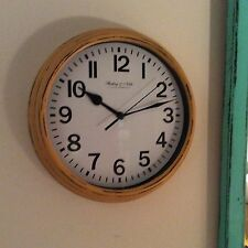 """NEW HP SHABBY COUNTRY COTTAGE CHIC PRIMITIVE YELLOW  9"""" ROUND WALL CLOCK"""