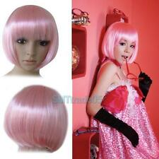 Lady Girl Bob Wig Women's Short Straight Bangs Full Hair Wigs Cosplay Party Pink