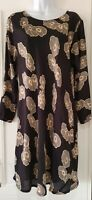 Womens MASAI Black Floral Long Sleeves Button Cuffs Loose Fit Tunic Dress M.