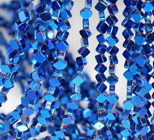 "6X6MM BLUE HEMATITE GEMSTONE DIAMOND SQUARE 6X6MM LOOSE BEADS 16"""
