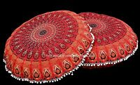 2 PC Rouge Mandala Rouand Tapisserie Indienne Sol Housse Coussin Ottomane Pouf