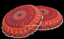 2 PC Red Mandala Rouand Tapestry Indian Floor Pillow Cushion Cover Ottoman Pouf