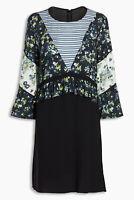 Next Vintage Black Ditsy Floral Stripe Preppy Skater Tea Dress Size 14 BNWT