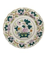 """Antique Booths China Green Lotus Dinner 10.5"""" Plate Purple Grey Gray AS IS"""