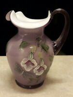 Fenton Purple Art Glass Pitcher Violet Overlay Flowers & Dragonfly 6868 OS