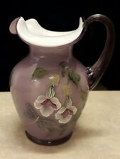 Fenton Art Glass Pitcher Violet Overlay Flowers & Dragonfly 6868 OS