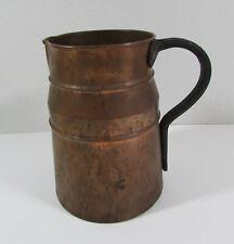 Antique Copper Pitcher with Forged Metal Hand Primitive Farmhouse UNIQUE