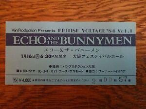 ECHO AND & THE BUNNYMEN 1984 JAPAN Tour Ticket Stub @Osaka