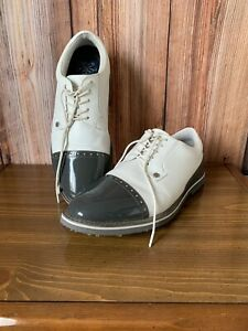 G/FORE Golf White & Gray Glossy Lace Up Golf Shoes Size 12