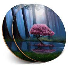 2 X Posavasos-Mágico Rosa árbol Bosque #45649