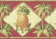 Pineapples Bamboo Palm Trees And Bushes Red Background Wallpaper bordeR Wall