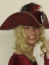 Dreispitz rot Piratin Tanzmariechen Musketier für Piratenkostüm Hut