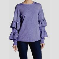 Women's Abound Tiered Sleeve Crewneck Knit Top Blue Spectrum Size L