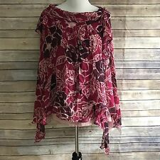 Odille Womens Blouse Silk Poncho Loose Fit Anthropologie No Sleeves Floral 4 B23