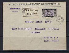 1919 Ivory Coast Scott 62 on registered cover Grand Bassam--Gold Coast via rail