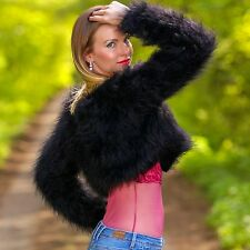 Black hand knitted mohair cropped mohair sweater bolero sexy fuzzy cardigan SALE