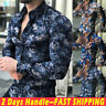 Men's Long Sleeve Slim Fit Button Down Shirts Floral Casual Summer T-shirt Tops