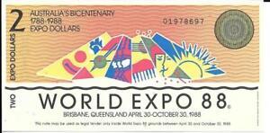 AUSTRALIA 2 Dollars 🌎 1988 World Expo Bicentenary Commemorative 🌎 UNC