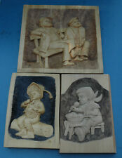 3 X älteres Reliefbild mit Monogramm 'AR' - Holz - Bild - Relief