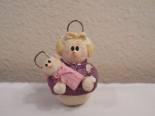"""2001 Resin Snowman Girl Holding A Baby Ornament ~ Marked EG ~ 2 1/2"""" Tall"""