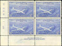 Mint H/NH Canada 1946 F-VF Block 17c Scott #CE4 Air Mail Special Del. Stamps