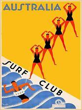 Surf Club Australia Vintage Australian Travel Advertisement Art Poster Print