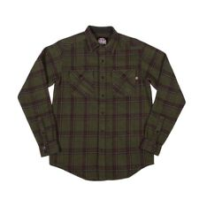 Independent Trucks CHAINSAW Button Up Skateboard Shirt OLIVE PLAID LARGE