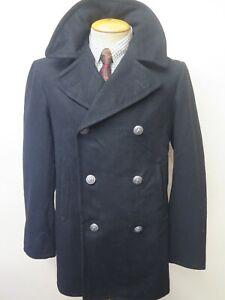 """Vintage 1970's US NAVY PEA COAT Naval Clothing Kersey Wool Pembroke 36"""" Euro 46"""