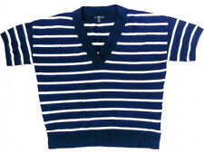 J Crew Womens Navy Blue and White Striped Short Sleeve V Neck Sweater LARGE