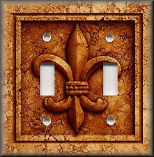 Metal Light Switch Plate Cover French Fleur De Lis Decor Aged Stone Orange Rust