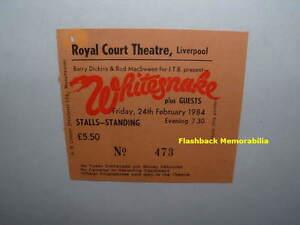WHITESNAKE 1984 Concert Ticket Stub LIVERPOOL U.K. Royal Court Theatre VERY RARE