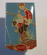 Coca Cola Boy Out Fishin Lapel Pin Tie Tac 1987 Norman Rockwell Themes & Symbols