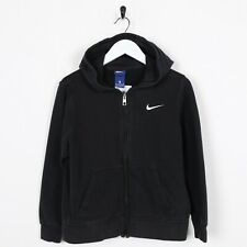 Vintage Kids NIKE Small Logo Zip Up Hoodie Sweatshirt Navy Blue Medium M