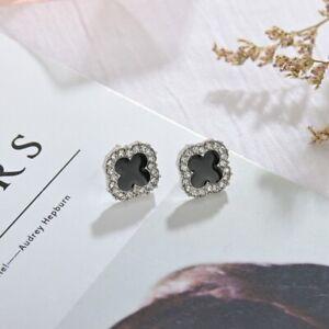 14K Gold On Four-leaf Clover Zircon Silver Stud Earrings