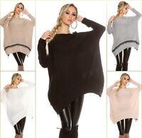 Trendy Koucla Pullover Oversize Pulli Strickpullover Sweater mit Stickerei, Zip