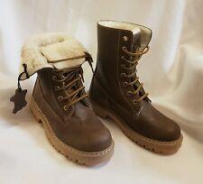 Niños Niñas Botas Zapatos Botas Forradas Hecho ITALY Marrón T.31 Invierno