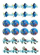 24 Edible Pre-cut Circle Wafer Finding Dory/Finding Nemo & Squirt Cupcake Topper