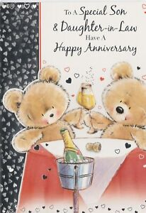 Happy Anniversary Card - Son and Daughter In Law - Bears with Champagne
