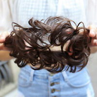 Women Curly Wavy Synthetic Bun Cover Hairpiece Clip in Scrunchie Hair Prof Sale