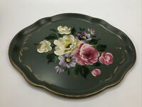 "Vintage Metal Tole Tray RUBEL USA Green Hand-Painted Roses Flowers 14 x 17"" AA"