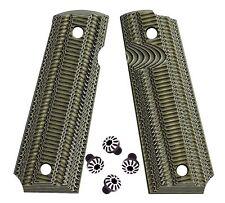 1911 G10 Grips - Gk8 Full Size BlackGreen + Strips Torx grip screws, 1911