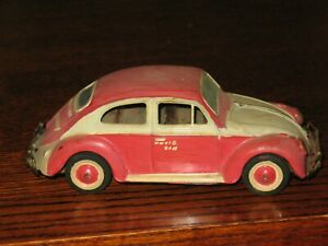 "Vintage Bandai Tin Friction Volkswagen Beetle Bug Japan 8"" Toy Car 70's"